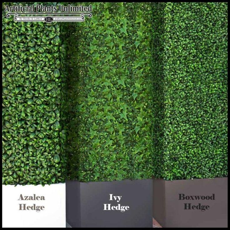 Artificial hedges with three types of foliage: azalea, ivy, and boxwood. http://www.hooksandlattice.com/outdoor-artificial-hedges.html