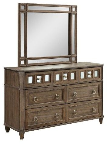Furniture of America ioHomes Kayleigh Transitional Mirror Accent Dresser And Mirror Set - Rustic Oak