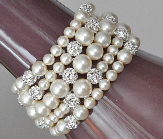 Wedding Jewellery, Chunky Pearl Bracelet, Bridal Wedding Jewellery Bracelet, Statement Pearl Bracelet