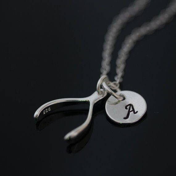 Personalized Wishbone Necklace . Sterling Silver Wishbone Necklace . Initial Necklace. Sister,Teacher,Teens, Friends gift Necklace on Etsy, $32.20 AUD