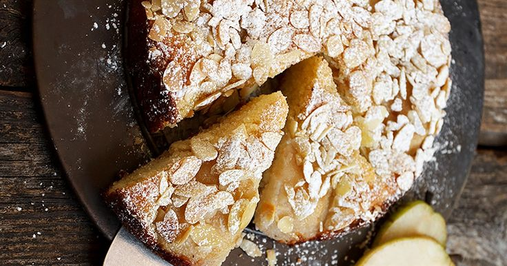 This delicious pear and almond cake is flourless and free from butter too. What a healthy treat for afternoon tea.