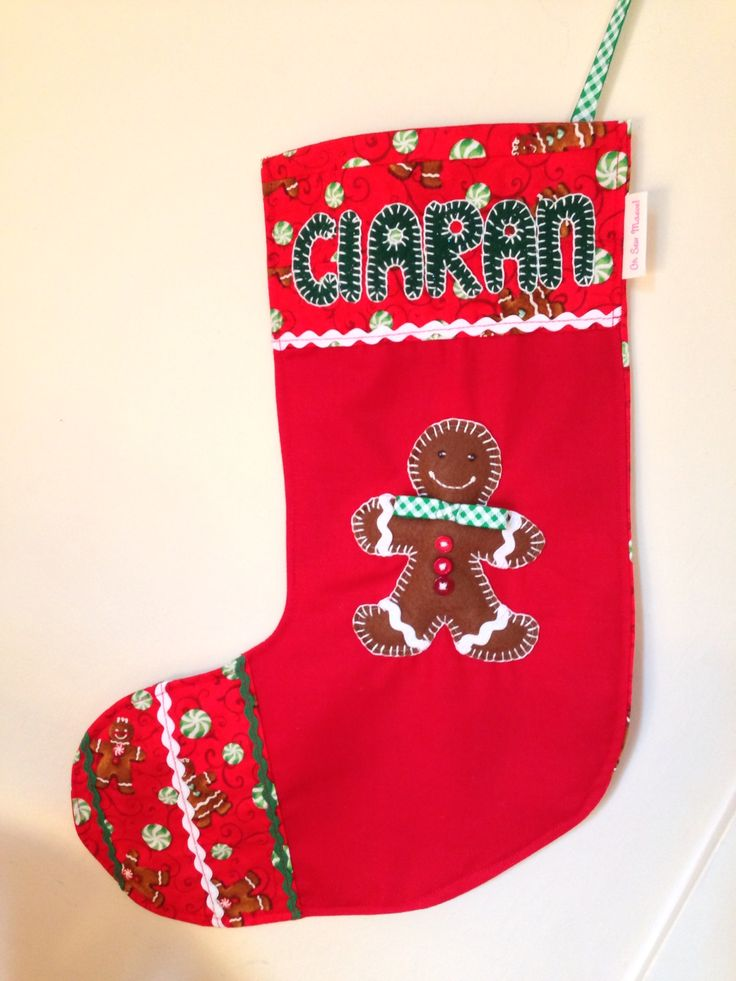 Custom handmade Christmas Stocking with padded felt gingerbread man Www.facebook.com/ohsewmaeve