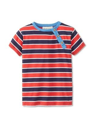 60% OFF Peas & Queues Kid's Thompson Henley (Red Stripe)