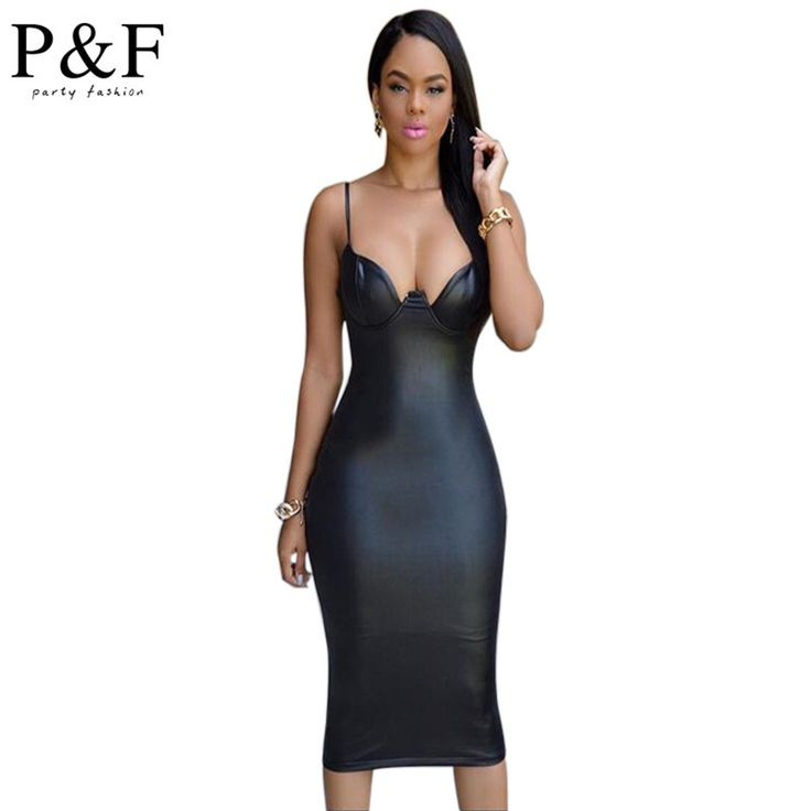 2016 summer dress Hot Sell leather evening party Dress sexy v-neck artificial leather dress kim style black club bodycon dress