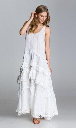 Robe longue blanc 100% lin