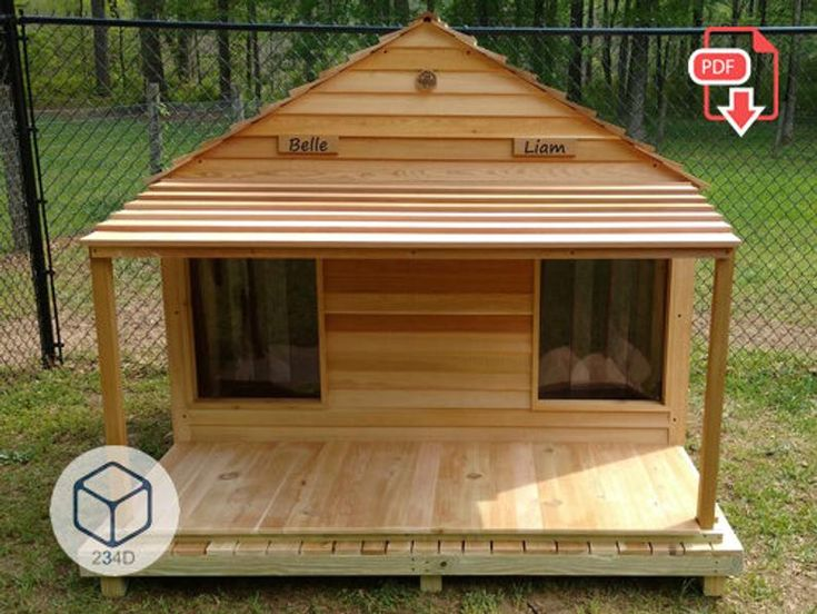 Diy Plans Dog Kennel House Double Large Outdoor Pdf Etsy In 2020 Dog House Diy Plans Wooden Dog House Large Dog House