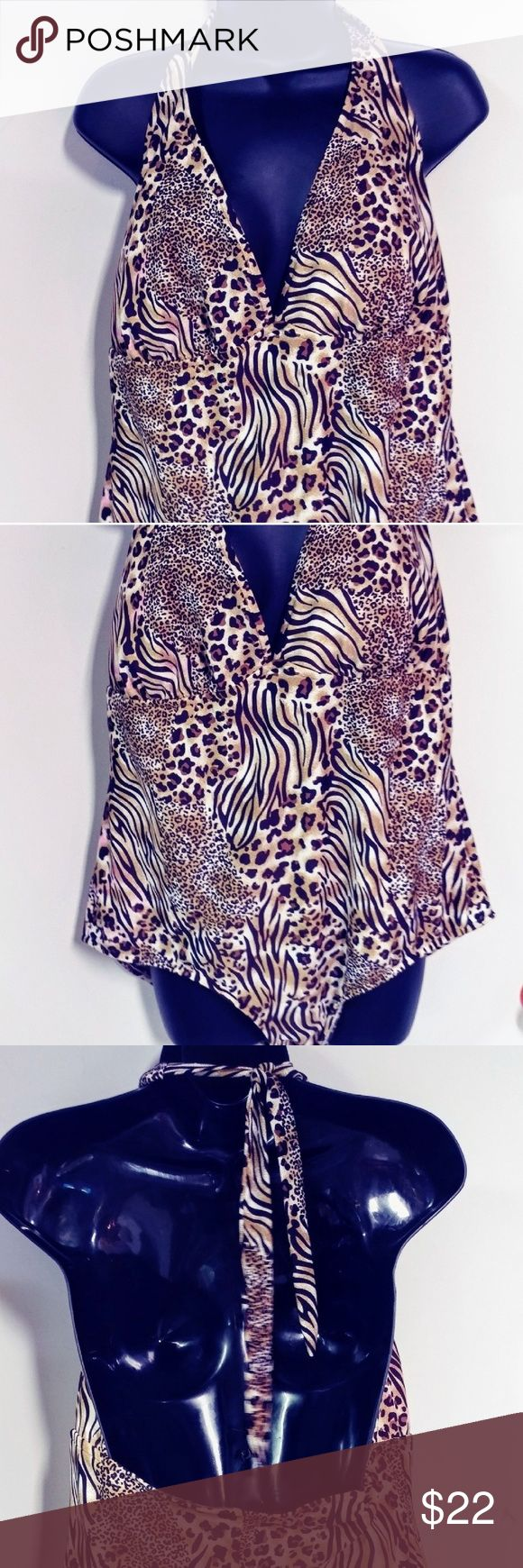 Plus Size Animal Print Swimsuit Excellent condition. No snags. Adjustable halter tie. catalina Swim One Pieces