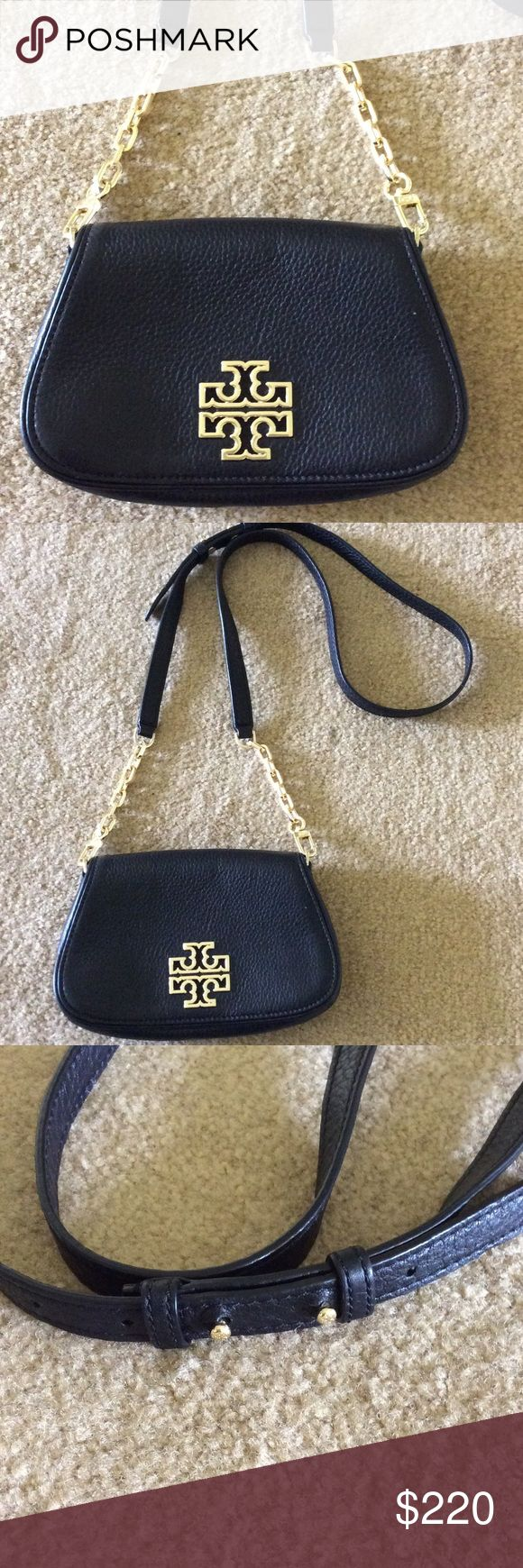🌺Tory Burch Black Cross-body Bag🌺 🌺NWOT-received as a gift and just don't need🌺Soft pebbled leather🌺Three slots for credit cards🌺Fold over flap with magnetic snap closure🌺Removable cross-body strap to convert to clutch or wallet🌺Adjustable cross-body strap with 23 inch drop🌺Height 4.75inches and width 8 inches🌺Please note: I try to price my items very fairly for their condition. I wont respond to lowball offers and I don't trade. Please don't ask me to model. If you need additional…