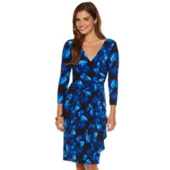 Chaps Floral Surplice Faux-Wrap Dress - Women's