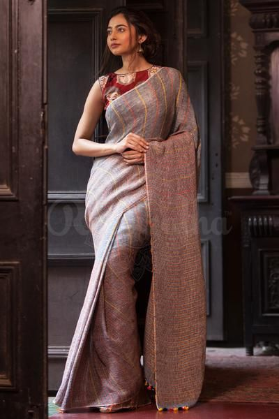 Brown Organic Linen Saree With Thread Stripes - Roopkatha - A Story of Art