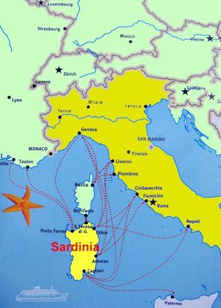 Sardinia is located in the Mediterranean Sea, west of Italy - Italy