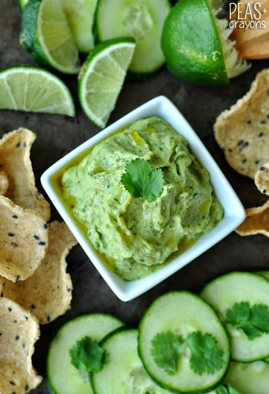 Healthy White Bean Dip with Avocado and Cilantro - Peas and Crayons