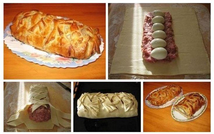 Pieczeń - mięso mielone, jajka i ciasto francuskie
