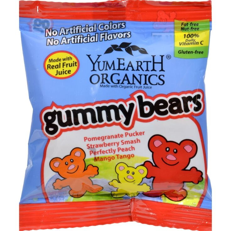Yummy Earth Organic Gummy Bears - Case of 24 - .9 oz - Yummy Earth Organic Gummy Bears Snack Pack is the first ever real USDA organic gummy bears and made with real fruit juice. These snack packs are great anytime treats. Yummy Earth makes the best tasting, original, organic gummies around. Organic gummy bears have less than 90 calories and contain 100% Vitamin C per serving. They come in these three delicious flavors: Pomegranate Pucker, Sour Apple Tart and Strawberry Smash.Ingredients…