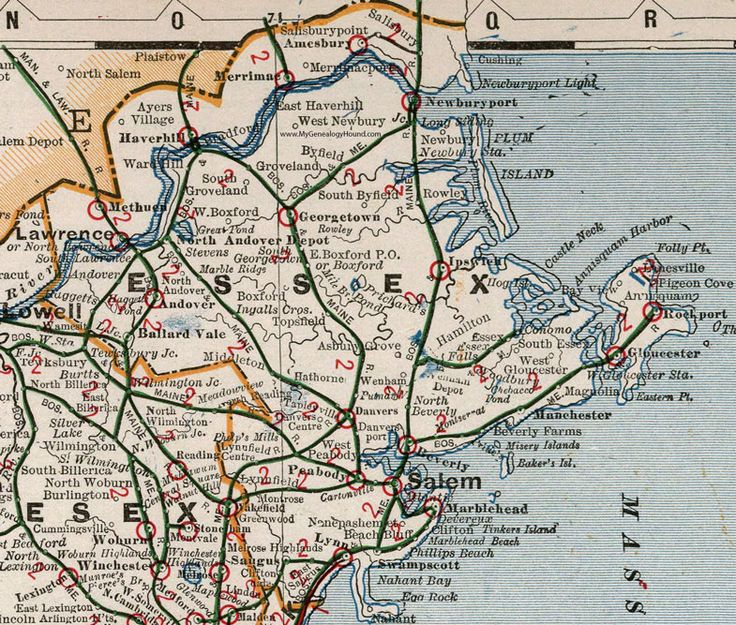 Essex County, Massachusetts, 1901, Map, Cram, Lawrence, Salem, Gloucester