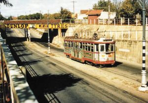 From yesteryear a tram goes through the Goodwood underpass