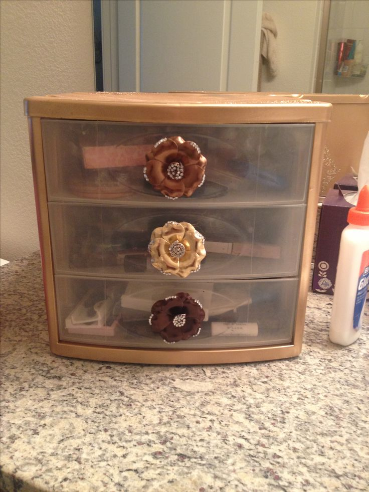 Plastic makeup drawers decorated