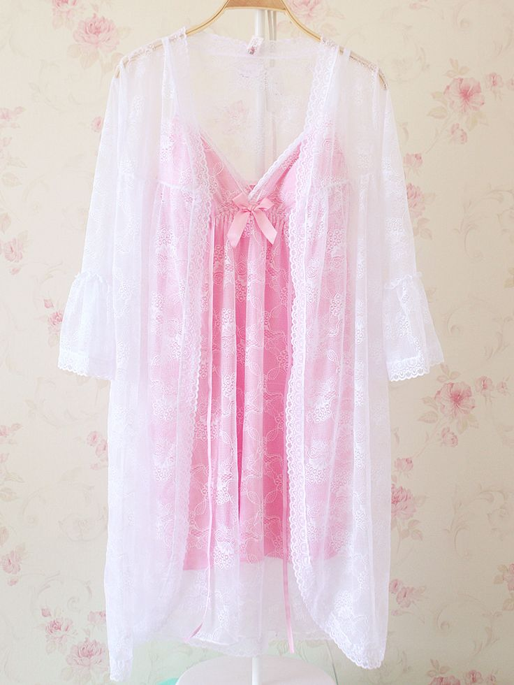 pretty sheer robe and pink bow nightie ♡