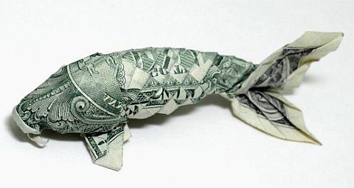 Dollaro Pesce.  Origami. Leggi il disclaimer: I prodotti finanziari negoziati in marginazione presentano un elevato rischio per il tuo capitale.