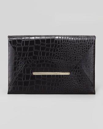 Crocodile-Embossed Envelope Clutch, Black by BCBGMAXAZRIA at Neiman Marcus.