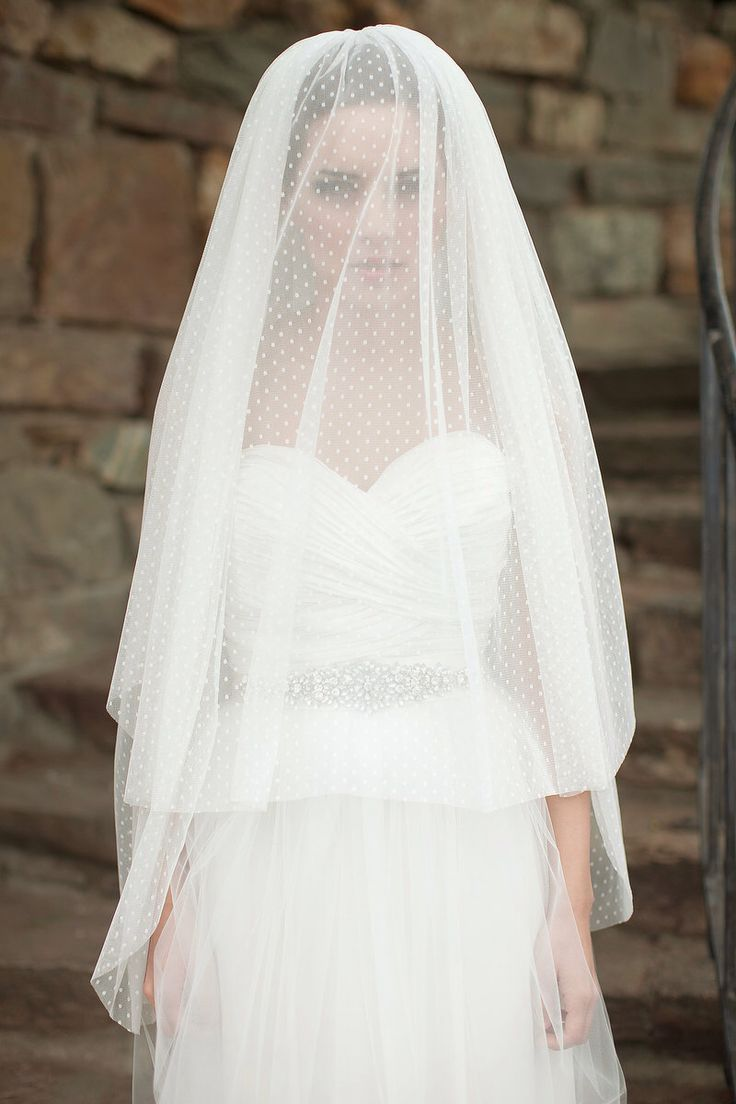Dotted Fingertip Veil, Bridal Veil with Blusher, Swiss Dot Veil, Double Layer Veil - Michele MADE TO ORDER- Style 8713 by MelindaRoseDesign on Etsy https://www.etsy.com/listing/155421300/dotted-fingertip-veil-bridal-veil-with