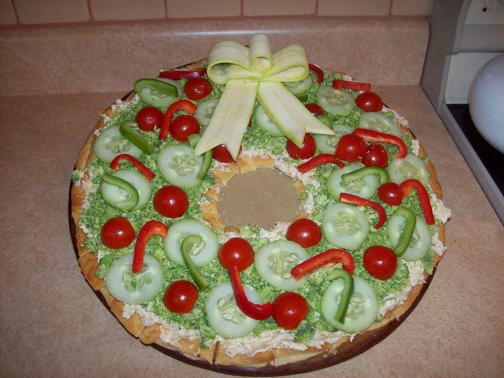Vegetable Pizza Christmas Wreath