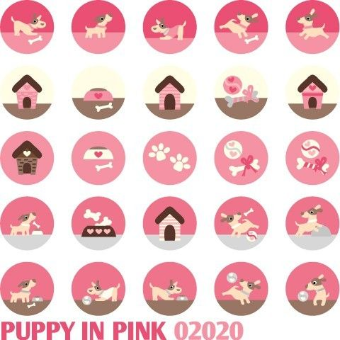 Puppy in Pink 02020  Printable Circle 1313 inch by BlessedShop