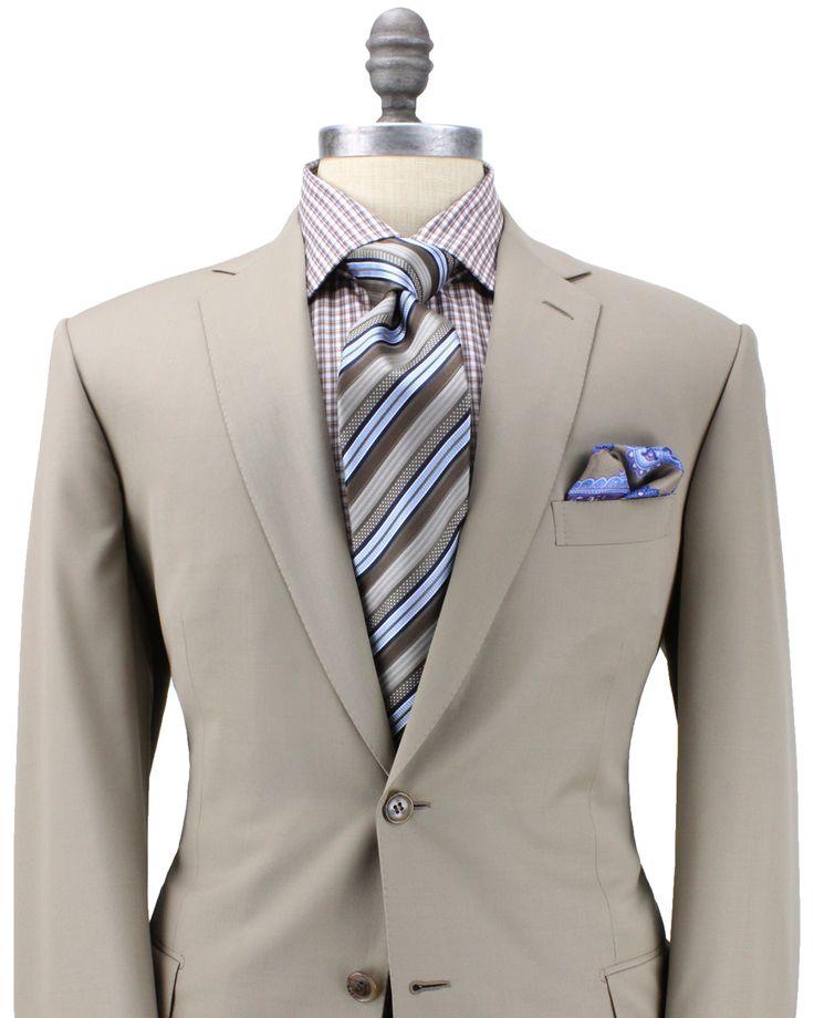 Brioni Solid Khaki Suit