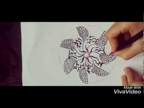 Aşama aşama kolay ZENTANGLE sanatı - kolay MANDALA çizimi nasıl yapılır?...