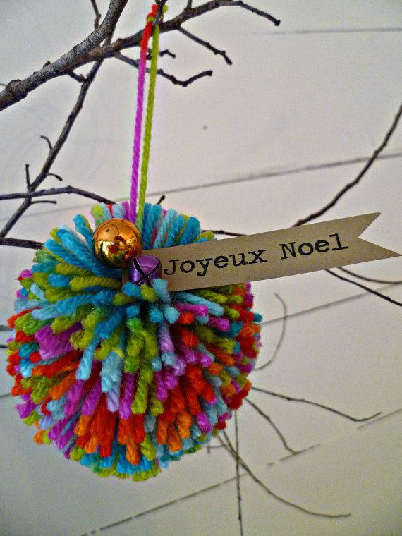 Pom Pom Christmas Ornament Joyeux Noel with bells
