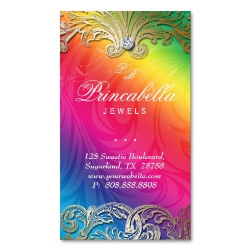 Elegant Jewelry Business Card Leaves Rainbow 4 $28.95 -- click for sales!!!