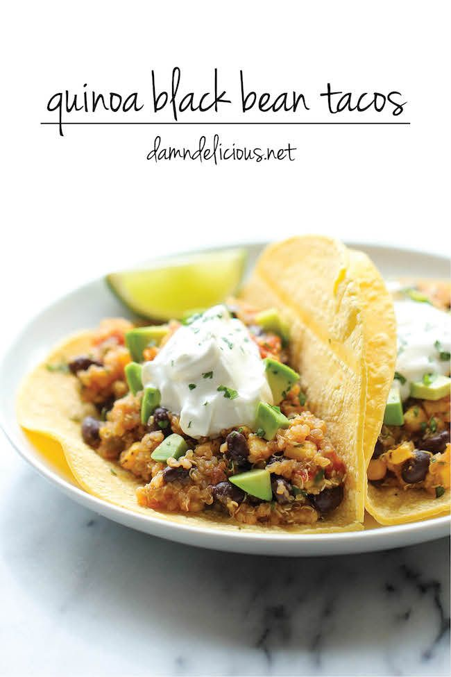 Quinoa Black Bean Tacos - Quick, easy, healthy and full of flavor - even meat eaters will love this!