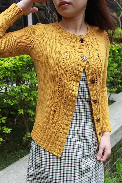 Ravelry: smallfanfan's Constant Test Knit - There's a wide panel of the cable and lace pattern on the back as well. Nice!