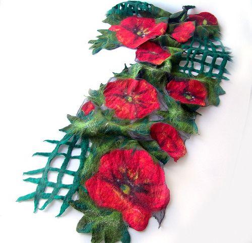 Nuno felted scarf - Poppy