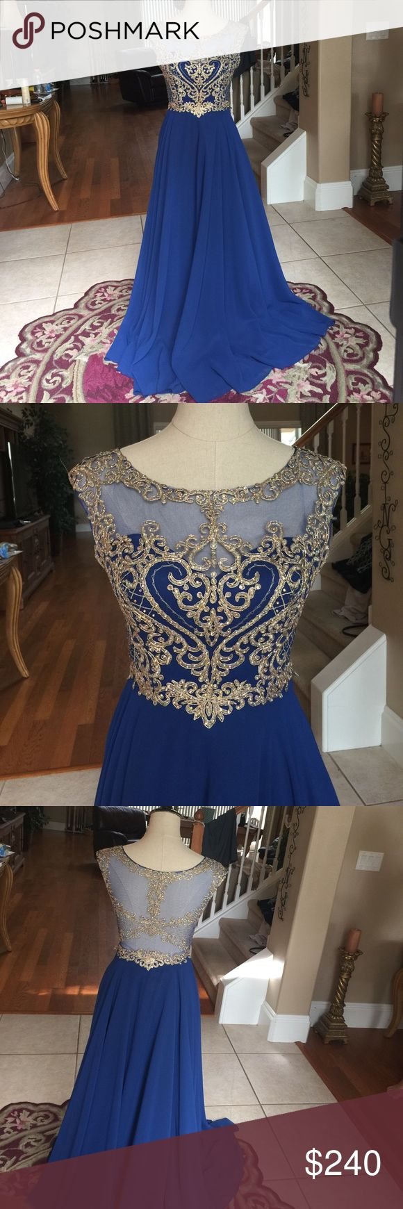 Elegant blue and gold prom dress Beautiful xsmall Royal blue prom dress! It has not altered at all and is practically brand new! I wore it to prom 2017 and got so many compliments! Purchased at a prom boutique in Tampa for $335 and selling for $240!  This dress is to die for  Fiesta Fashion Dresses Prom