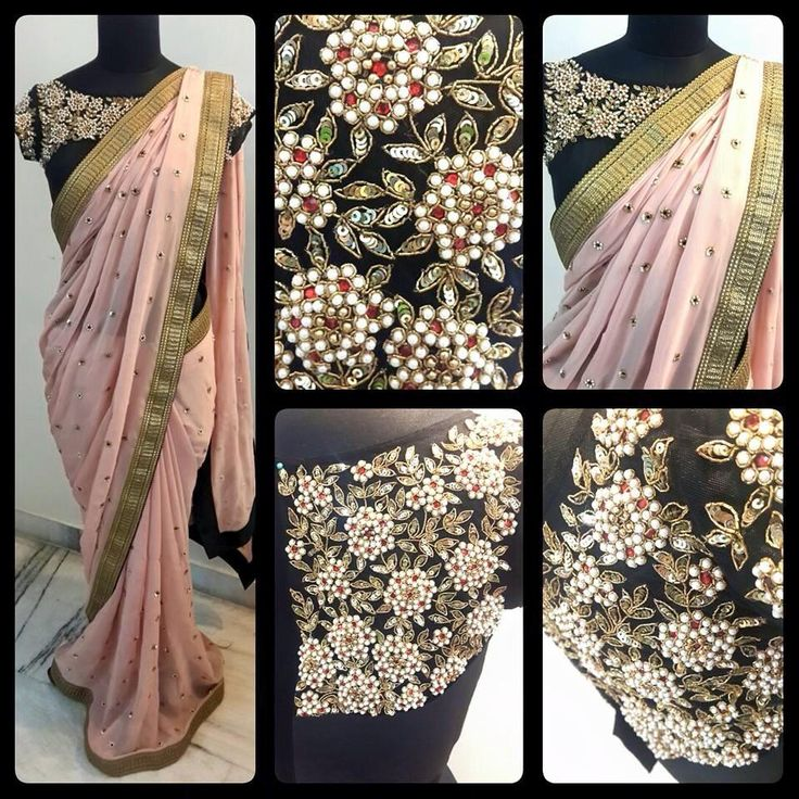 blush pink saree n heavy blouse with it
