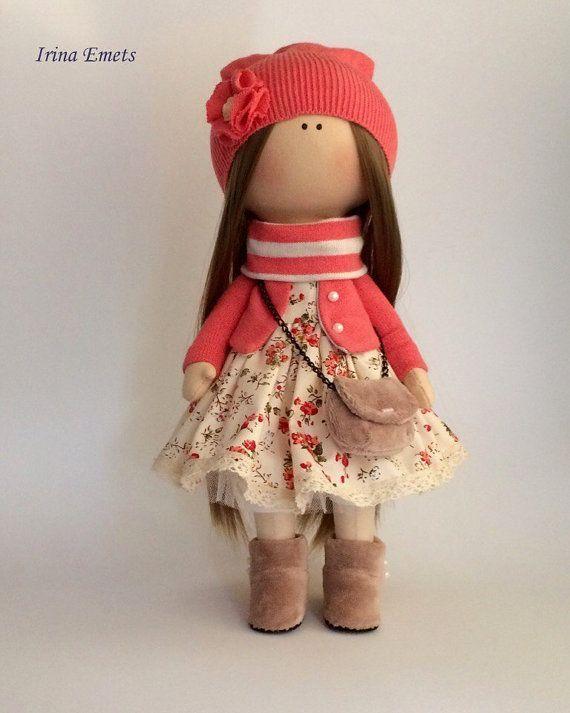 Textile doll Handmade doll Fabric doll coral by AnnKirillartPlace