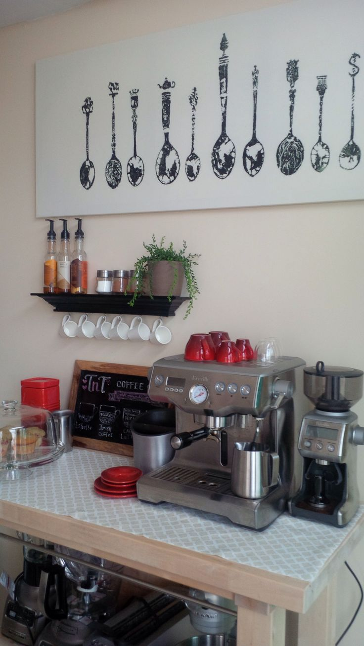 Our Finished Home Coffee Bar Espresso Breville Lecreuset Starbucks