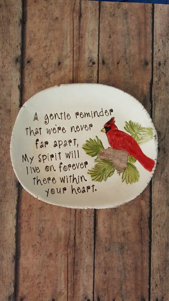 Cardinal meaning dish Red Bird memory dish Cardinal by MudHutt