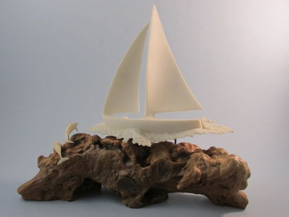 Vintage John Perry Sailboat and Dolphins by LadyRoseTreasures, $70.00