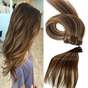 Human Hair Extensions 18 Inch Clip in Hair Extensions 7A Grade Silky Long Hair Pieces for Women, 7 Pcs Per Set, #4/27 Price:  $14.99     Introduction:    These clip in extensions, made by professional factories, are designed for buyers who want to add hair length and volume.   After selecting the most accurate color, you're able to get super soft natural human hair extensions.    Features:   These silky hair extension sets blend in well with your natural hair.   It provides th..