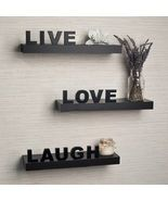 Wall Shelves Live Laugh Love Inspirational Saying Laminate Letters 3 Roo... - $99.95
