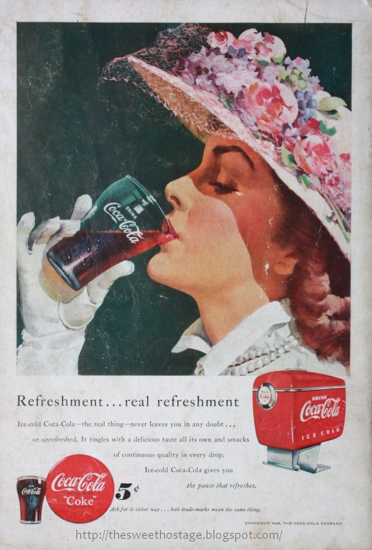 1949 coke ad pretty lady sipping coca cola glass hat spring flowers easter bonnet gloves vintage cooler great to frame
