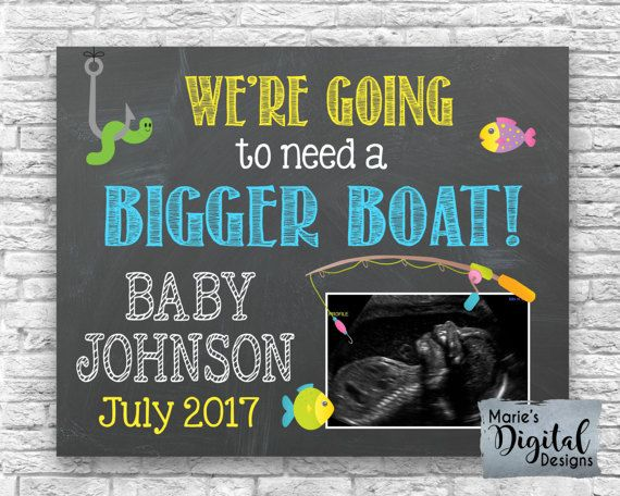 This affordable fishing themed printable pregnancy announcement photo prop is the perfect way to share the big news of expecting a baby! Printable Chalkboard Pregnancy Announcement by Marie's Digital Designs / We're Going To Need A Bigger Boat / Ultrasound / Sonogram Card