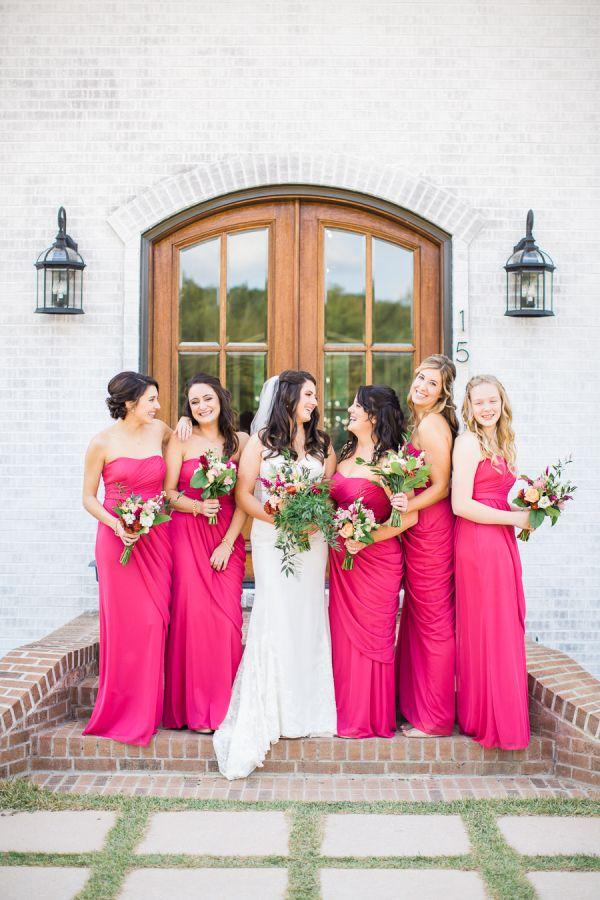 Hot pink bridesmaid dresses: http://www.stylemepretty.com/north-carolina-weddings/new-hill/2015/12/28/colorful-north-carolina-wedding/ | Photography: Robyn Van Dyke - http://www.robynvandykephotography.com/index2.php#/home/