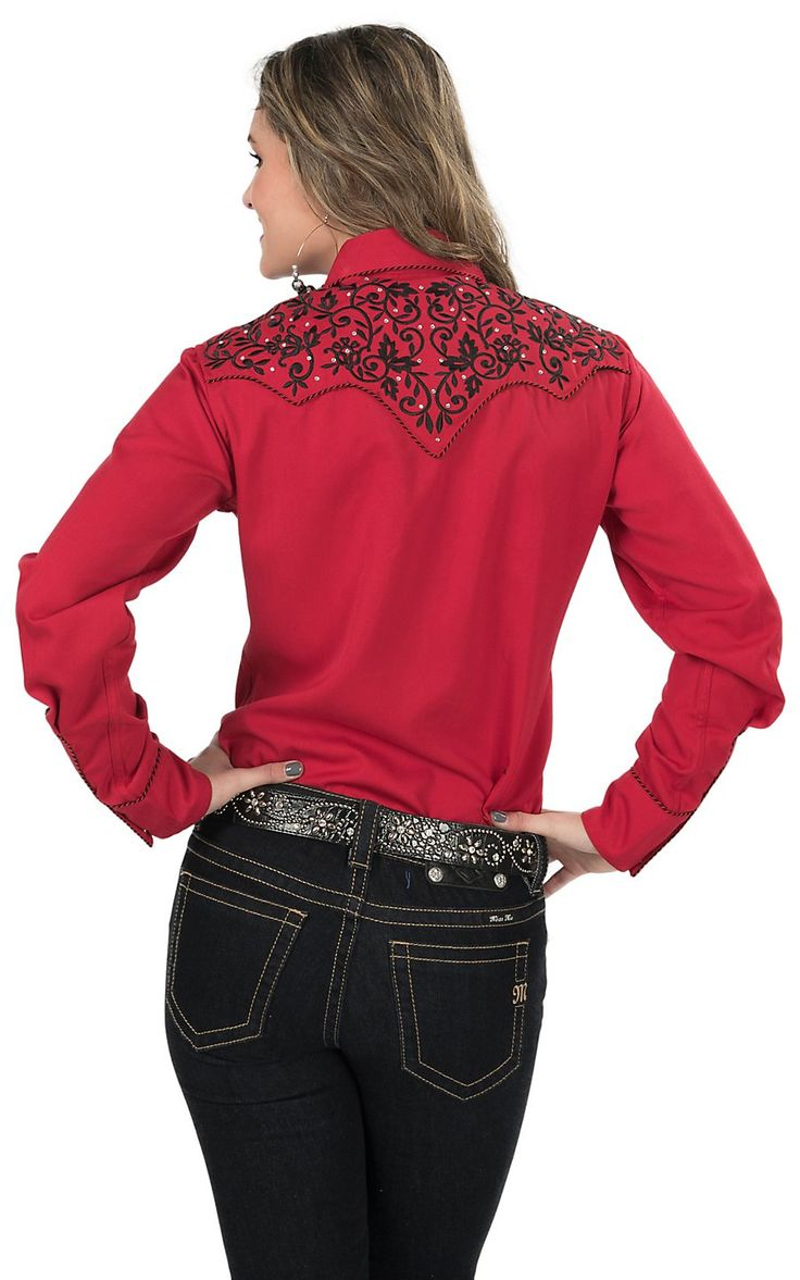 Wrangler Rock 47 >> Life Style Women's Red with Black Floral Embroidery Long ...