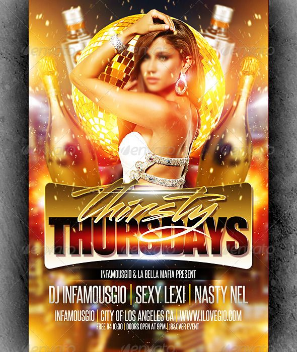 Thirsty Thursdays 4 Flyer template, Print templates and Template - club flyer maker