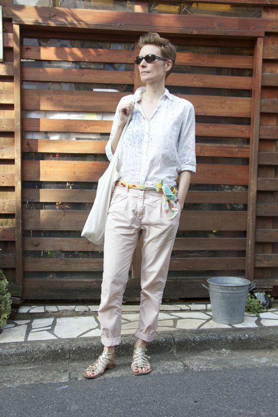 #0646 Yola  トップス:PORTLAND  ボトムス:ZARA  シューズ:LES TROPEZIENNES  バッグ: nest Robe  アクセ:着物の帯を使用したベルト・GUESS(サングラス)    Photo by Ohno