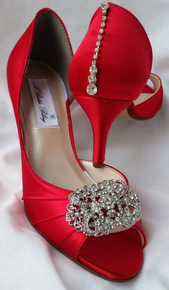 Wedding Shoes Red Bridal Shoes Vintage Style Rectangle Brooch And Teardrop Crystals Over 100 Custom Bridal Shoes Vintage Red Bridal Shoes Bridal Shoes