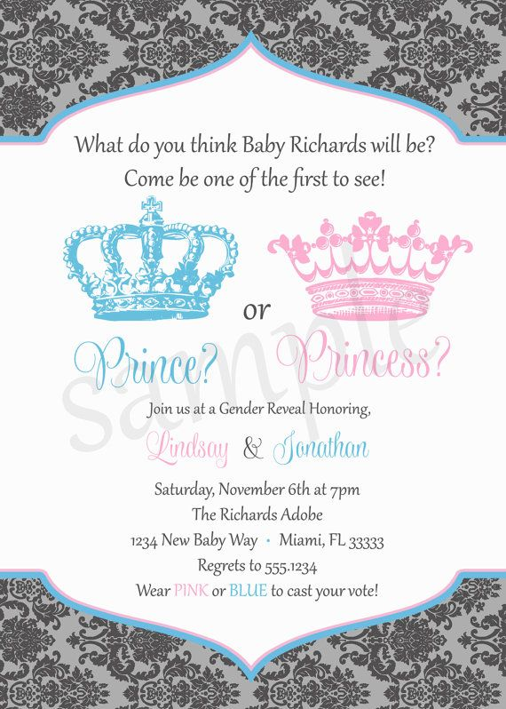 Prince or Princess Gender Reveal Invitation by ShesTutuCuteBtq